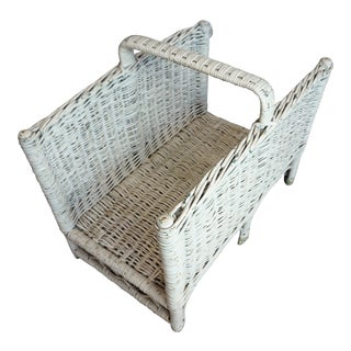 Large Distressed White Wicker Log Basket For Sale
