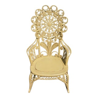 Antique Victorian Ornate Wicker Portrait Rocking Chair Rocker For Sale