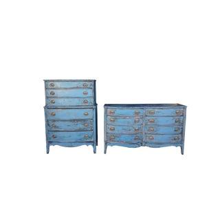 Anitique/Vintage Farmhouse Painted Dressers Mahogany Blue Painted Highboy / Long Dresser Painted Sheraton Dresser Suite Cottage Blue Dresser For Sale