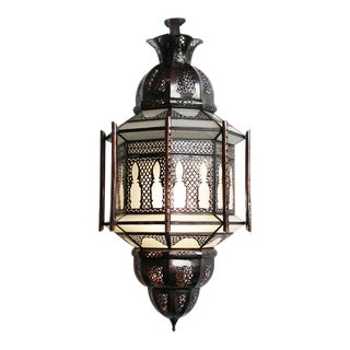 Moroccan Metal Work Frosted Lantern For Sale