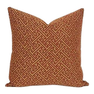 Kravet Gold and Red Fretwork Pillow Cover For Sale