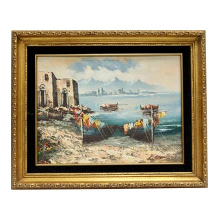 Midcentury French Seaside Oil on Canvas For Sale