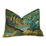 Image of Verdure Print Linen Lumbar Pillow Cover For Sale