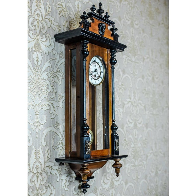 Traditional 19th-Century Wall Clock With Carvings For Sale - Image 3 of 13