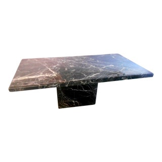 Modern Italian Made Black Marble Pedestal Dining Table