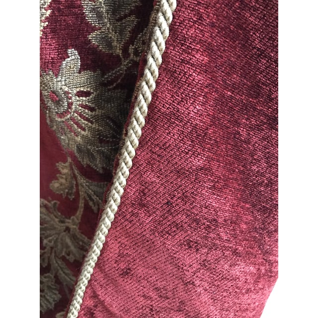 Velvet Floral Red and Gold Throw - Image 5 of 8