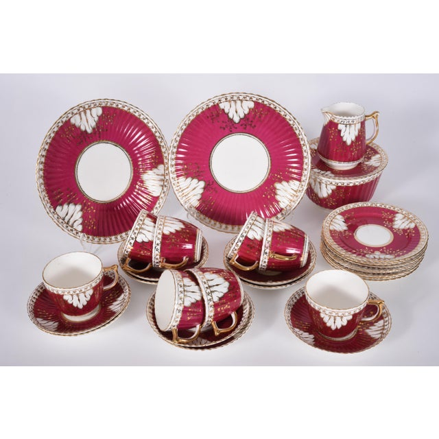 Gold Vintage English Porcelain Luncheon Service - 27 Pc. Set For Sale - Image 8 of 13