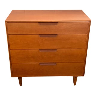 1950s Mid-Century Modern Edward Wormley for Dunbar Walnut Chest With Leather Handles For Sale
