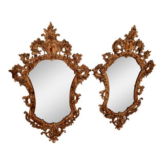 Cartouche Style Venetian Glass Carved Mirrors - a Pair For Sale
