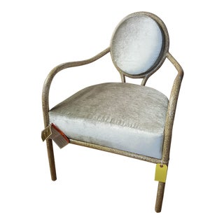 Mid-Century Modern Bernhardt Olivia Cream Wooden Arm Chair For Sale