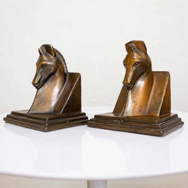Art Deco Trojan Horse Bookends | Art Deco Copper Plated For Sale - Image 3 of 10