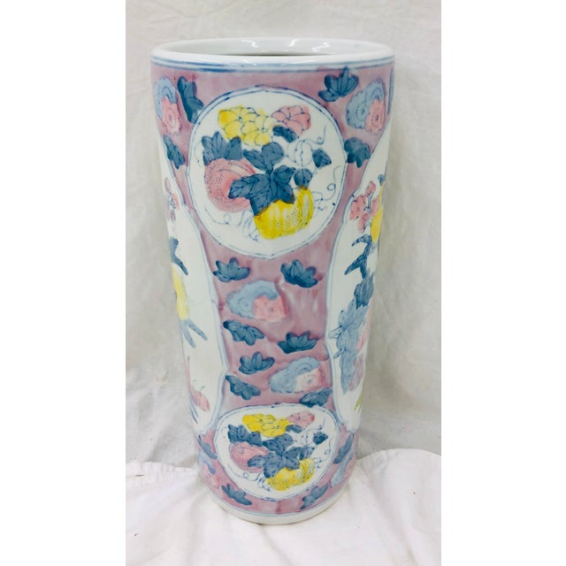 Mid 20th Century Vintage Painted Ceramic Umbrella Stand For Sale - Image 5 of 8
