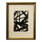 Image of Original Franz Kline-Inspired Black and White Framed Painting For Sale