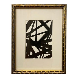 Original Franz Kline-Inspired Black and White Framed Painting For Sale