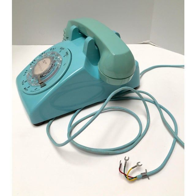 Vintage Turquoise Blue Dial Desk Telephone - Image 4 of 6