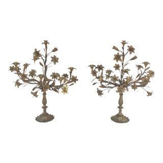 19th Century Italian Bronze Girandoles For Sale