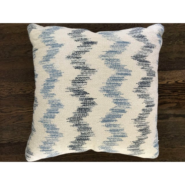 Custom Blue and White Chevron Pillows - a Pair - Image 4 of 5