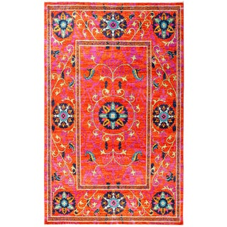 "Suzani Hand Knotted Area Rug - 5'2"" X 8'4"" For Sale"