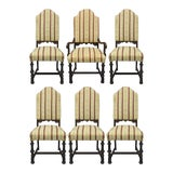 Image of Jacobean Depression Renaissance Revival Walnut Upholstered Dining Chairs - Set of 6 For Sale
