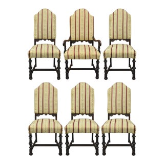 Jacobean Depression Renaissance Revival Walnut Upholstered Dining Chairs - Set of 6