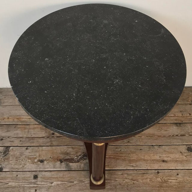 Metal 19th Century French Napoleon III Period Marble Top End Table ~ Gueridon For Sale - Image 7 of 11