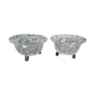 Regency Cut Glass Footed Ashtrays - A Pair For Sale