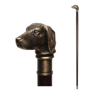 Scarborough House Dog Head Walking Stick Cane For Sale