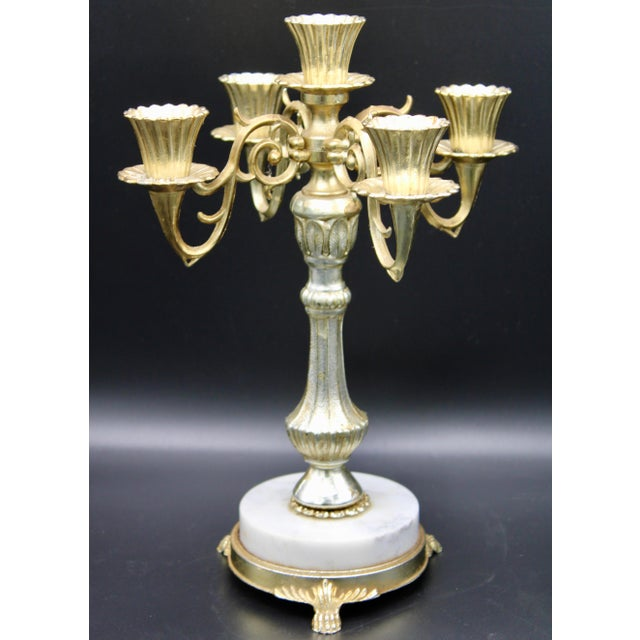"""A charming Vintage Italian Five Branch Candelabra with a marble base and three lion's feet; circa 1960s. Dimensions: 12.5""""..."""