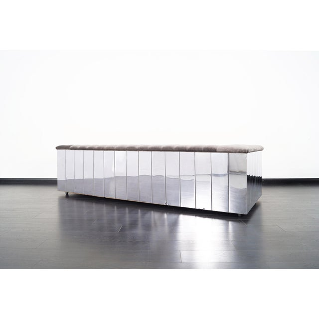 "Metal Vintage Chrome ""Cityscape"" Sofa For Sale - Image 7 of 9"