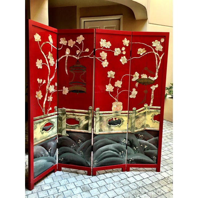 Vintage Red Lacquered Chinese Screen - Image 2 of 11