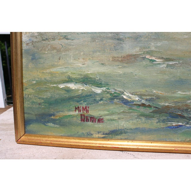 "Mid-Century Oil on Board Titled ""Hong Kong"" Depicting Junk Boat Harbour Scene For Sale - Image 10 of 12"
