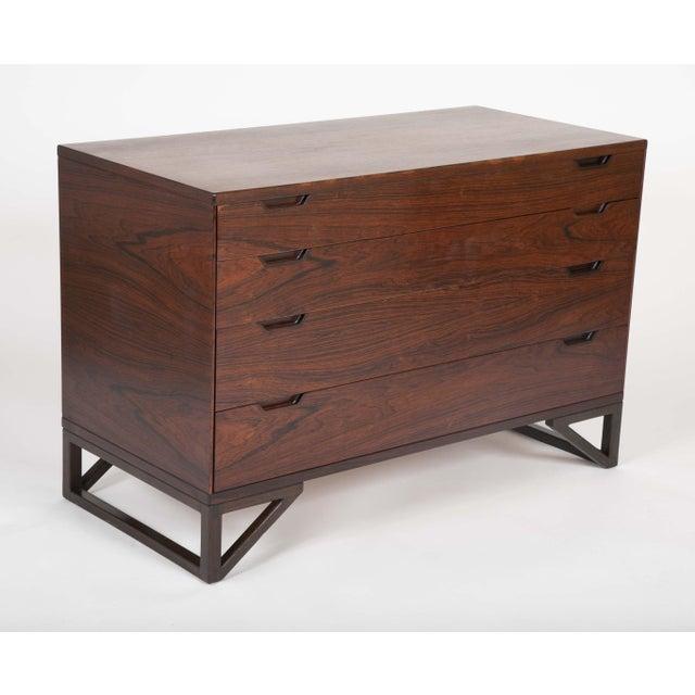 "Svend Langkilde Svend Langkilde Design Rosewood Dressers on ""Stand Base"" - a Pair For Sale - Image 4 of 13"