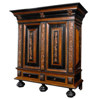 Exquisite 18th Century Swedish Period Baroque Cabinet With Raised Panels For Sale