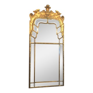 Antique Chinoiserie Gold Mirror With Fine Beveling, Circa 1910-1920. For Sale