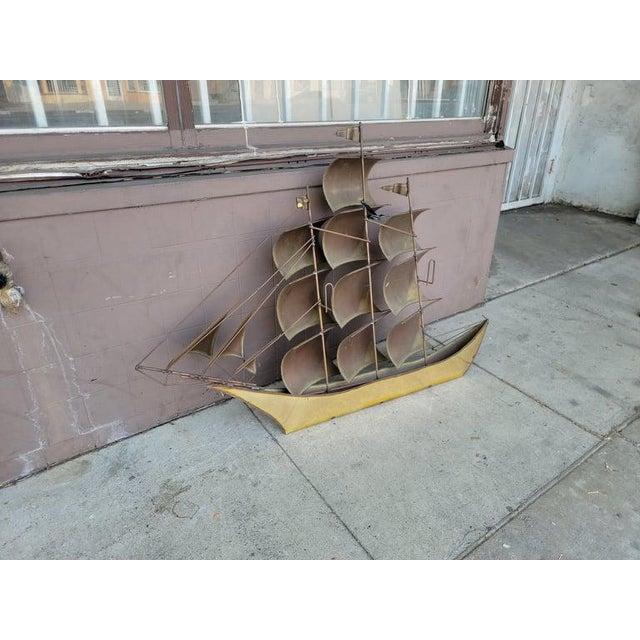 1970s Vintage Brass Ship Sculpture For Sale - Image 11 of 13