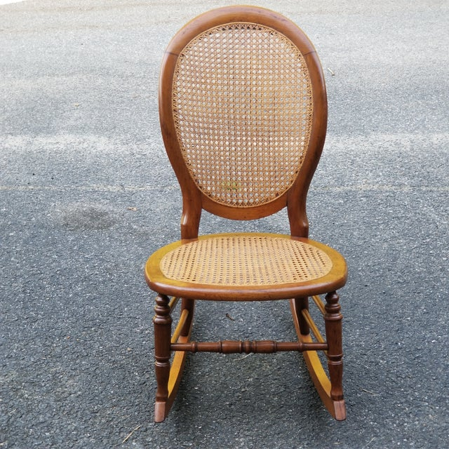 Brown Vintage Cane Sewing Rocking Chair Children's Chair For Sale - Image 8 of 8