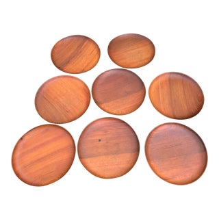 Mid Century Teak Tapas Plates - Set of 8 For Sale