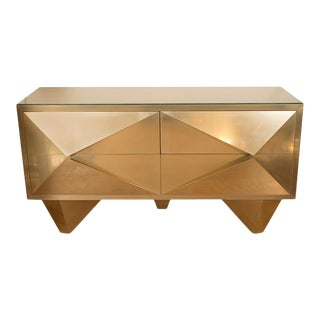 Brass Cabinets With Diamond Form Front Details - a Pair For Sale