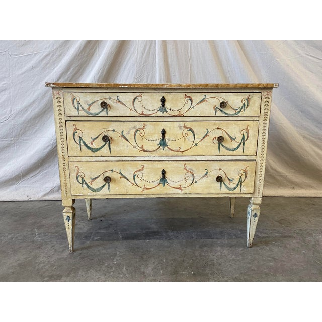 Italian Commode With Hand Painted Designs - 19th C For Sale - Image 11 of 12