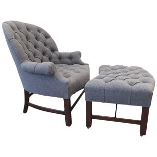 Regency Style Tufted Lounge Chair and Ottoman For Sale