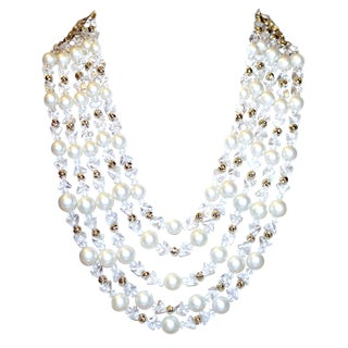 1960s Schiapareli Faux-Pearl Bib Necklace For Sale