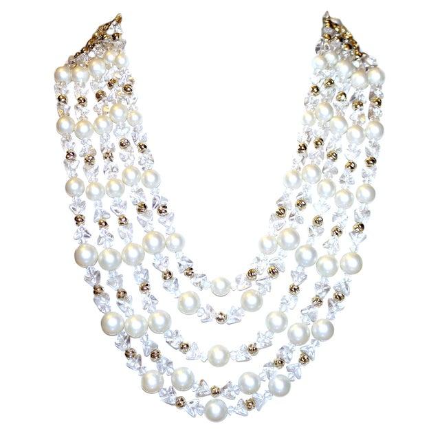 1960s Schiapareli Faux-Pearl Bib Necklace For Sale