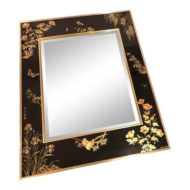 La Barge Églomisé Hand Painted Beveled Mirror For Sale