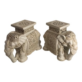 Vintage Ceramic Elephant Garden Stools - A Pair For Sale