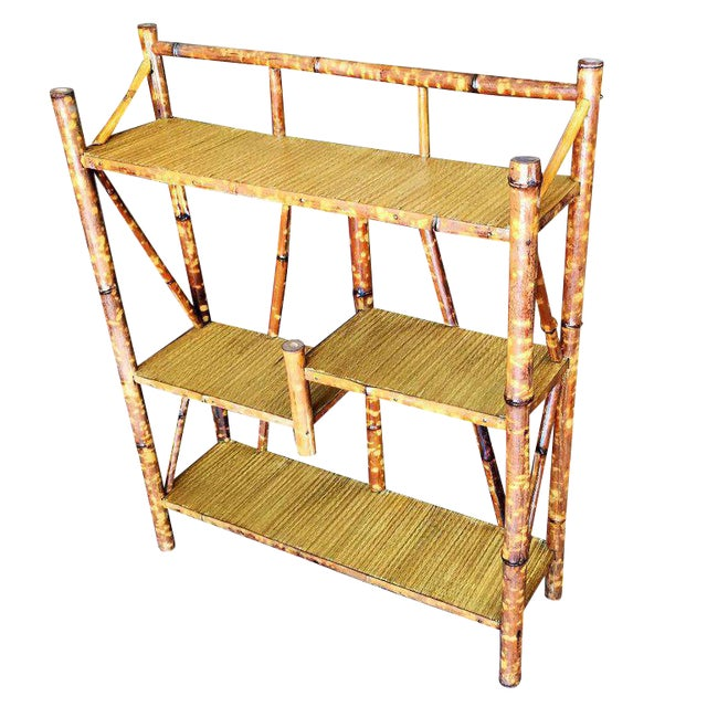 Restored Tiger Bamboo Four-Tier Bookshelf - Image 1 of 5