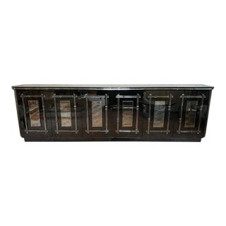 Hollywood Regency All Mirrored Sideboard Cabinet
