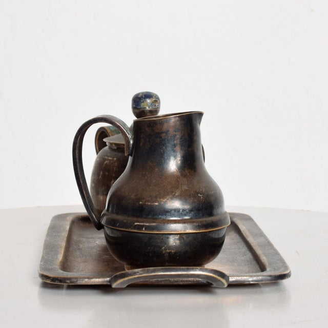 Los Castillo Mexican Mid-Century Los Castillo Silverplate & Malachite Azurite Stone Coffee Tea Serving Set - 3 Pc. For Sale - Image 4 of 11