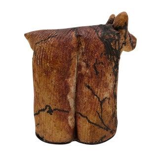 Raku Ceramic Hand-Sculpted Brown Bear Figure For Sale