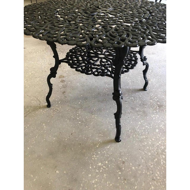 Metal French New Orleans Style Umbrella Dining Table and Chairs Patio Set For Sale - Image 7 of 10
