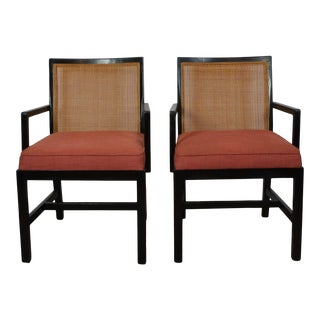 Pair of Black Frame Armchairs For Sale